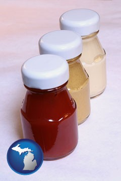 ketchup, mustard, and mayonnaise condiments - with Michigan icon