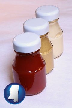 ketchup, mustard, and mayonnaise condiments - with Mississippi icon