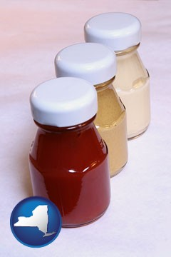 ketchup, mustard, and mayonnaise condiments - with New York icon