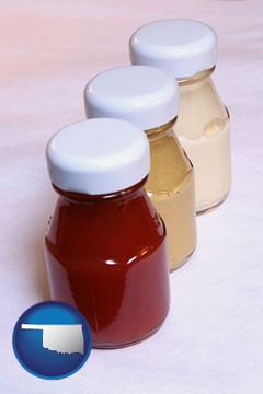 ketchup, mustard, and mayonnaise condiments - with Oklahoma icon