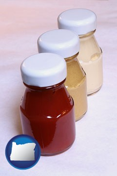 ketchup, mustard, and mayonnaise condiments - with Oregon icon