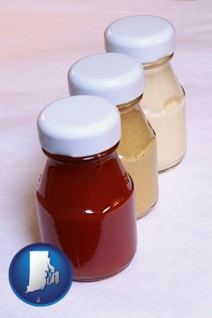 ketchup, mustard, and mayonnaise condiments - with Rhode Island icon