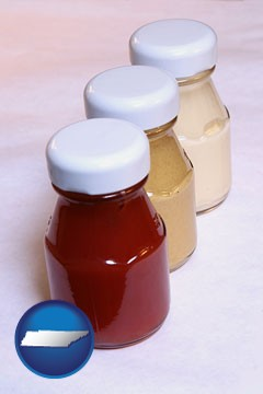 ketchup, mustard, and mayonnaise condiments - with Tennessee icon