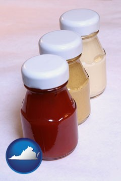 ketchup, mustard, and mayonnaise condiments - with Virginia icon