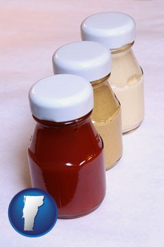 ketchup, mustard, and mayonnaise condiments - with Vermont icon