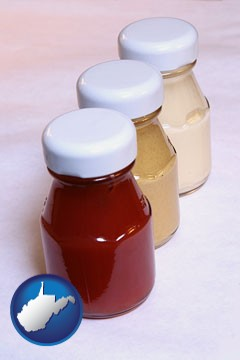 ketchup, mustard, and mayonnaise condiments - with West Virginia icon