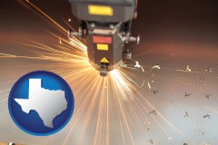 texas map icon and a laser cutting tool