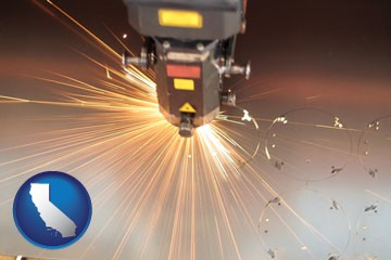 a laser cutting tool - with California icon