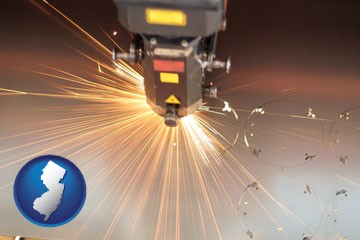 a laser cutting tool - with New Jersey icon