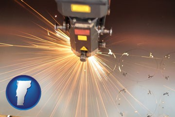 a laser cutting tool - with Vermont icon