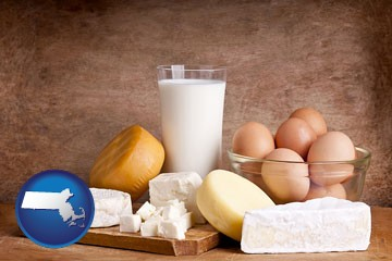 dairy products - with Massachusetts icon
