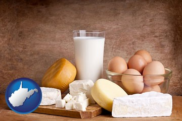 dairy products - with West Virginia icon