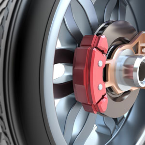 a disc brake, wheel, and tire rendering