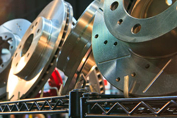 disc brake rotors in an auto parts warehouse