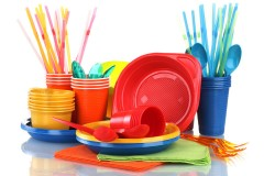 disposable plastic tableware and napkins