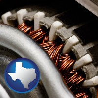 texas map icon and electric motor internals