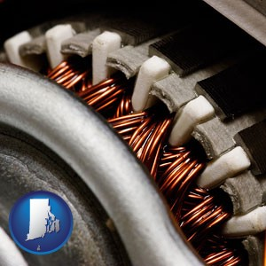 electric motor internals - with Rhode Island icon