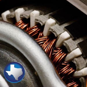 electric motor internals - with Texas icon