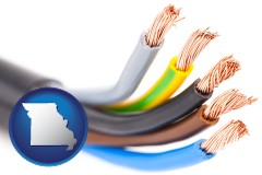 missouri copper electrical wires in an insulated electric cable