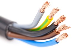 copper electrical wires in an insulated cable