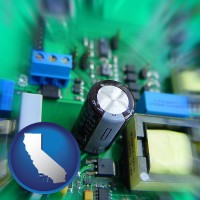 california electronic components on a circuit board