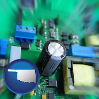 oklahoma electronic components on a circuit board