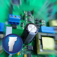 vermont electronic components on a circuit board