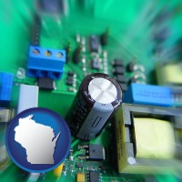wisconsin electronic components on a circuit board