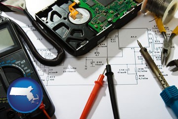 electronic devices, tools, and supplies - with Massachusetts icon