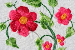 colorful flowers and leaves embroidery