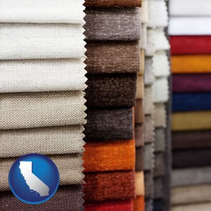 upholstery fabric samples - with California icon
