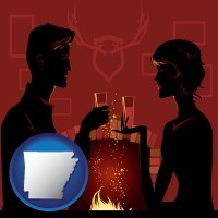 arkansas map icon and a romantic fireplace setting