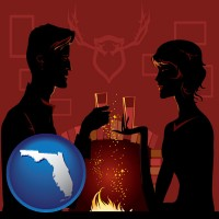 florida map icon and a romantic fireplace setting