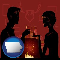 iowa map icon and a romantic fireplace setting