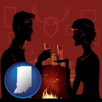 indiana map icon and a romantic fireplace setting