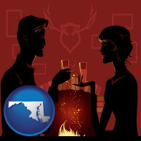 maryland map icon and a romantic fireplace setting