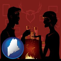 maine map icon and a romantic fireplace setting