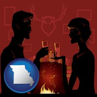 missouri map icon and a romantic fireplace setting
