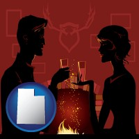 utah map icon and a romantic fireplace setting