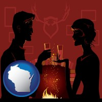 wisconsin map icon and a romantic fireplace setting