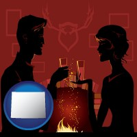 wyoming map icon and a romantic fireplace setting