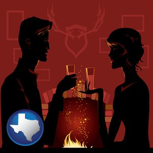 a romantic fireplace setting - with Texas icon