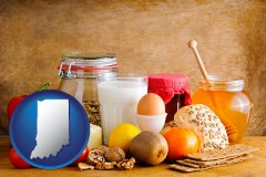 indiana map icon and healthy foods