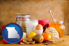 missouri map icon and healthy foods