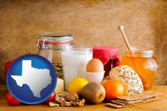 texas map icon and healthy foods