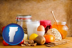vermont map icon and healthy foods