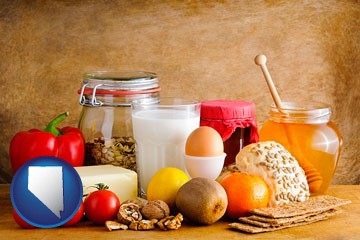 healthy foods - with Nevada icon