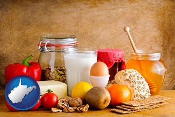 healthy foods - with West Virginia icon
