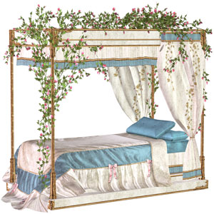 a traditional four-poster bed with canopy roses