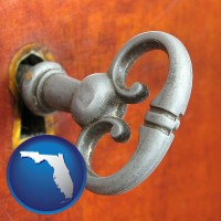 florida map icon and an antique furniture key